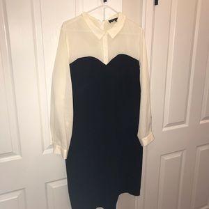 ELOQUII Cream and Black Dress